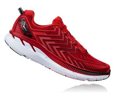 Hoka One One Clifton 4 running shoes red men