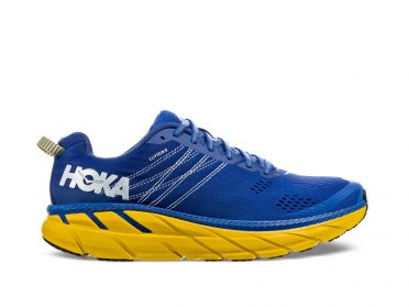 Hoka One One Clifton 6 wide running shoes blue/yellow men