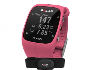 Polar M400 HRM sports watch with GPS pink