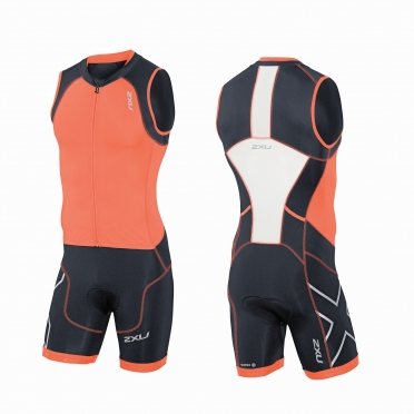 2XU Compression Full Zip trisuit orange/black men