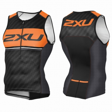 2XU Perform Pro Tri singlet black/orange men