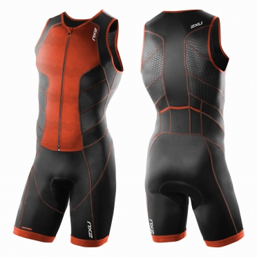 2XU Perform Full Front Zip trisuit orange/black men