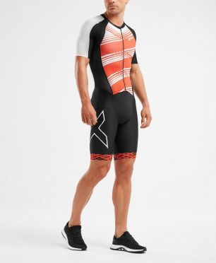 2XU Compression short sleeve trisuit black/red men