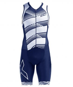 2XU Compression sleeveless trisuit blue/white men