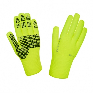 SealSkinz Ultra grip cycling gloves yellow