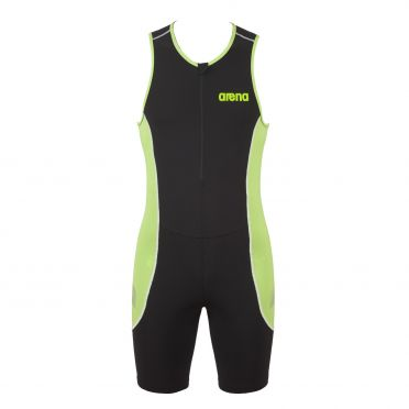 Arena ST front zip sleeveless trisuit black/green men