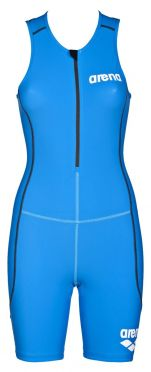 Arena ST front zip sleeveless trisuit blue women