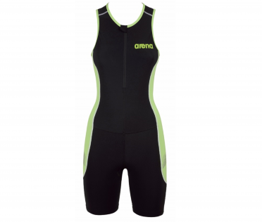 Arena ST front zip sleeveless trisuit black/green women