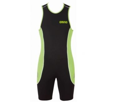 Arena ST rear zip sleeveless trisuit black/green men