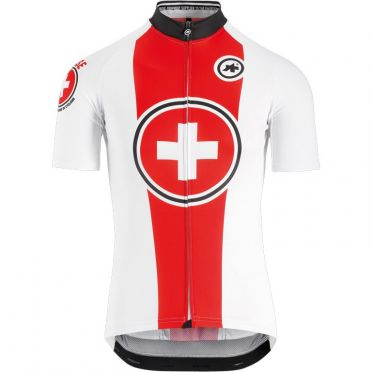 Assos Suisse Fed short sleeve cycling jersey white/red men