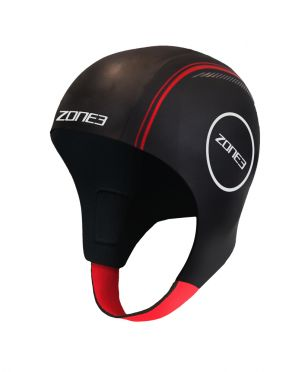 Zone3 Neoprene swim cap black/red