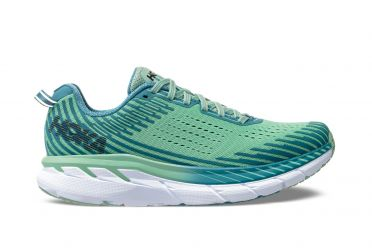 Hoka One One Clifton 5 running shoes green women