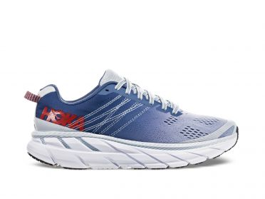 Hoka One One Clifton 6 running shoes blue/white women