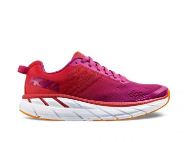 Hoka One One Clifton 6 wide running shoes red/white women