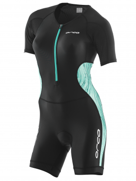 Orca Core race short sleeve trisuit black/green women