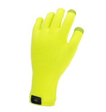 SealSkinz Ultra grip knitted cycling gloves neon yellow
