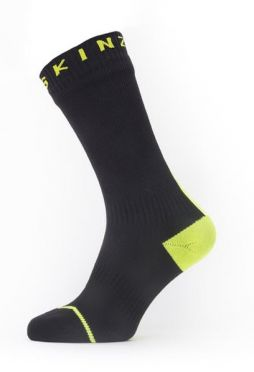 Sealskinz All weather mid cycling socks with Hydrostop black/neon yellow