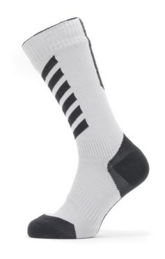 Sealskinz Cold weather mid cycling socks with Hydrostop white/grey/black