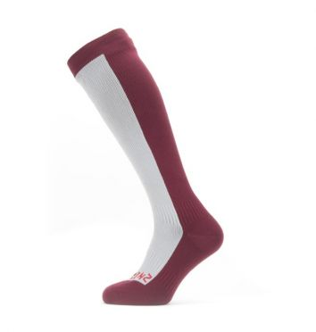 Sealskinz Cold weather knee cycling socks with Hydrostop Grey/red
