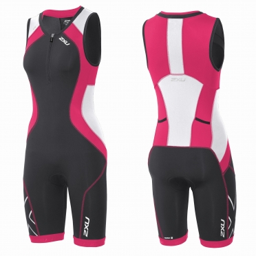 2XU Compression Full Zip trisuit black/pink women