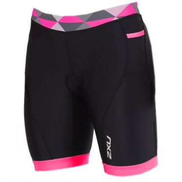"2XU Active 7"" tri shorts black/pink women"