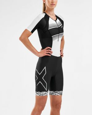 2XU Compression short sleeve trisuit black/white women