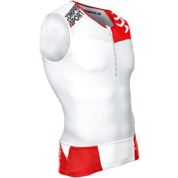 Compressport Tr3 tank top compression top white  TSTRI-TK00VRR
