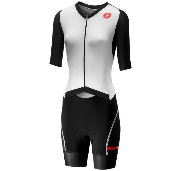 Castelli All out W speed trisuit short sleeve white/black women  18115-101