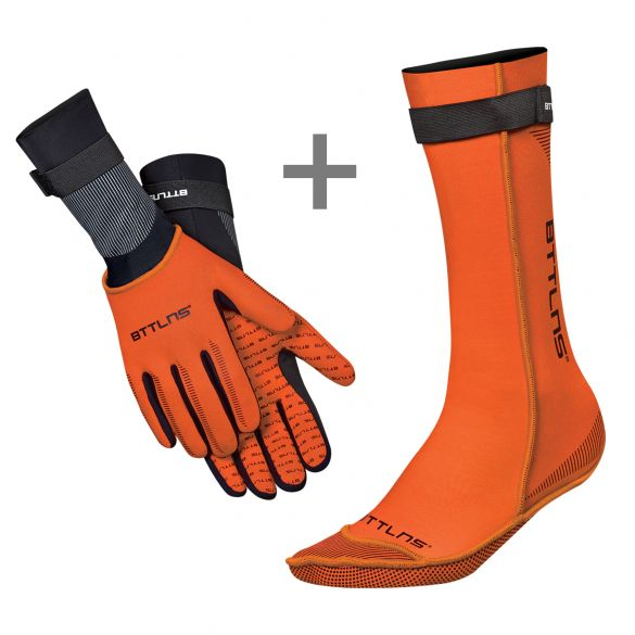 BTTLNS Neoprene swim socks and swim gloves bundle orange  0120011+0120012-034