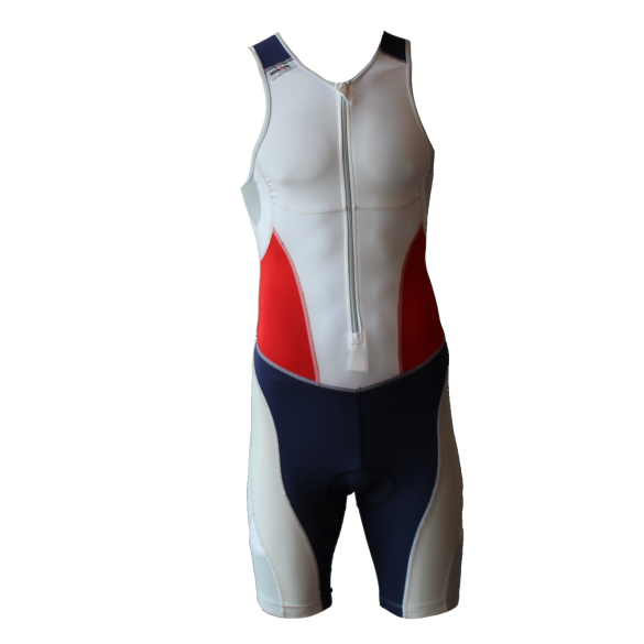 Ironman trisuit front zip sleeveless extreme suit white/blue/red men  IM7507-03/41