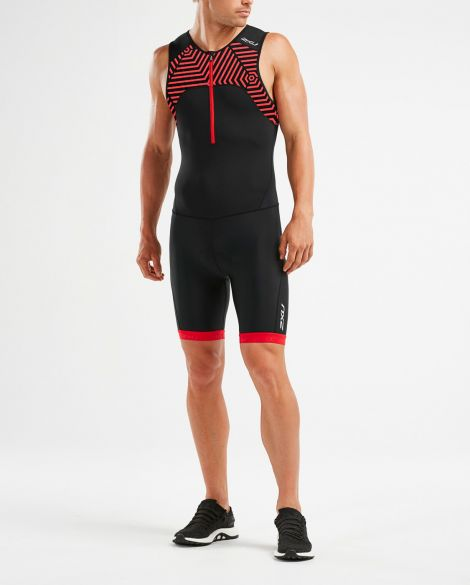 2XU Active sleeveless trisuit black/red men  MT5540d-BLK/FSL