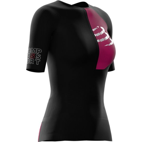 Compressport Postural Aero short sleeve compression tri top black women  TSTRIV2W-SS99