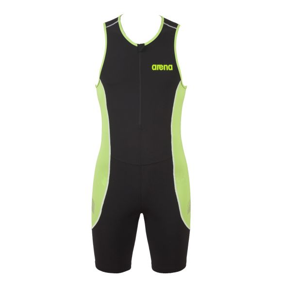 Arena ST front zip sleeveless trisuit black/green men  AR25052-56